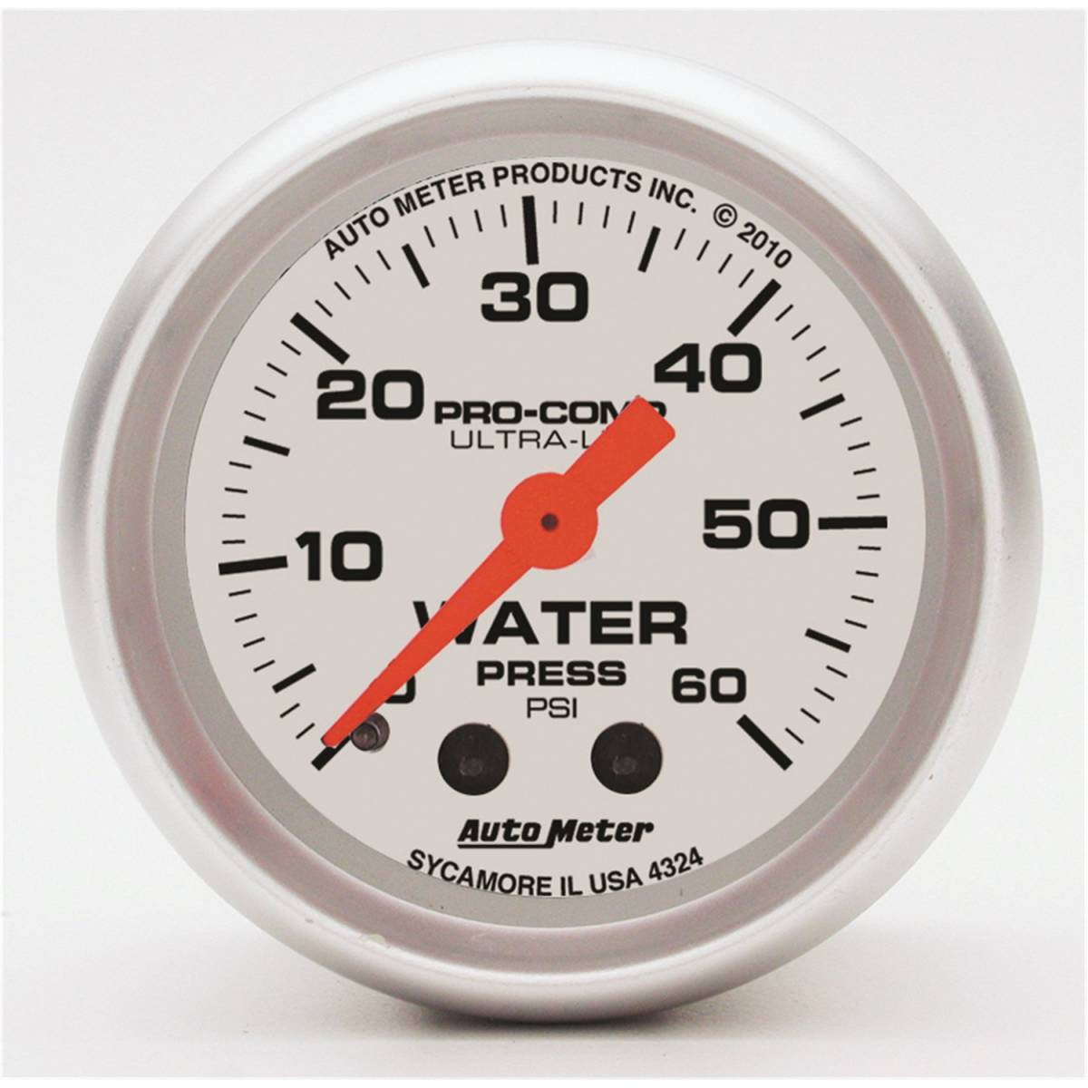 Autometer 4368 Ultra Lite Electric Water Pressure Gauge: AutoMeter #4324 Gauge; Water Press; 2 1/16in.; 60psi