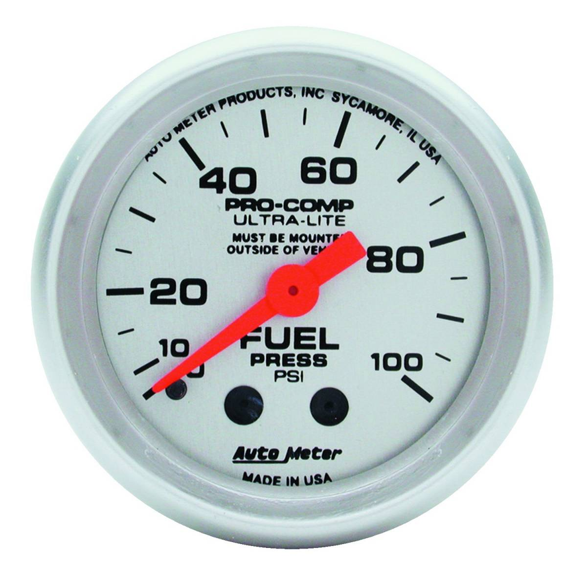 Autometer 4368 Ultra Lite Electric Water Pressure Gauge: AutoMeter #4312 Gauge; Fuel Pressure; 2 1/16in.; 100psi