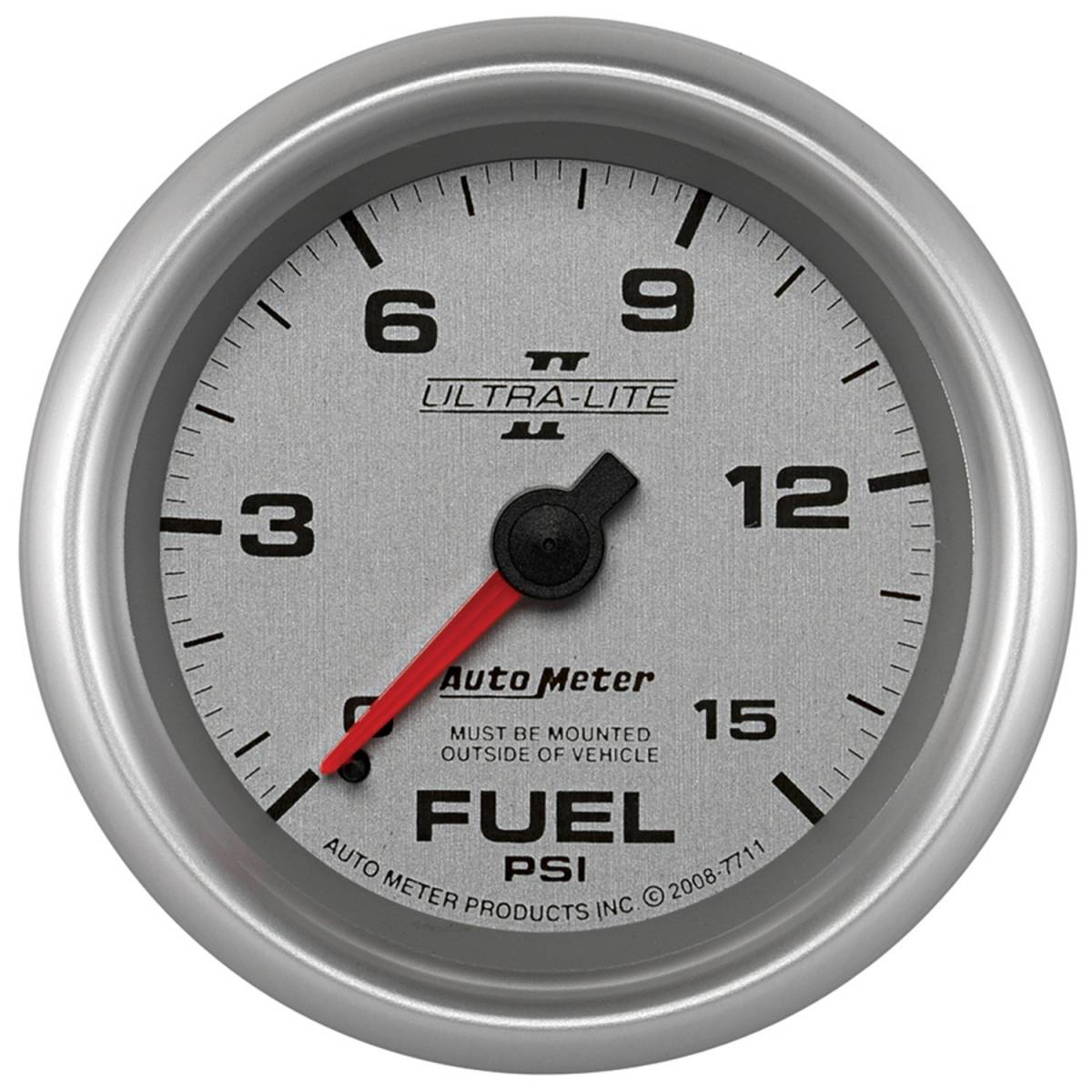 Autometer 4368 Ultra Lite Electric Water Pressure Gauge: AutoMeter #7711 Gauge; Fuel Pressure; 2 5/8in.; 15psi