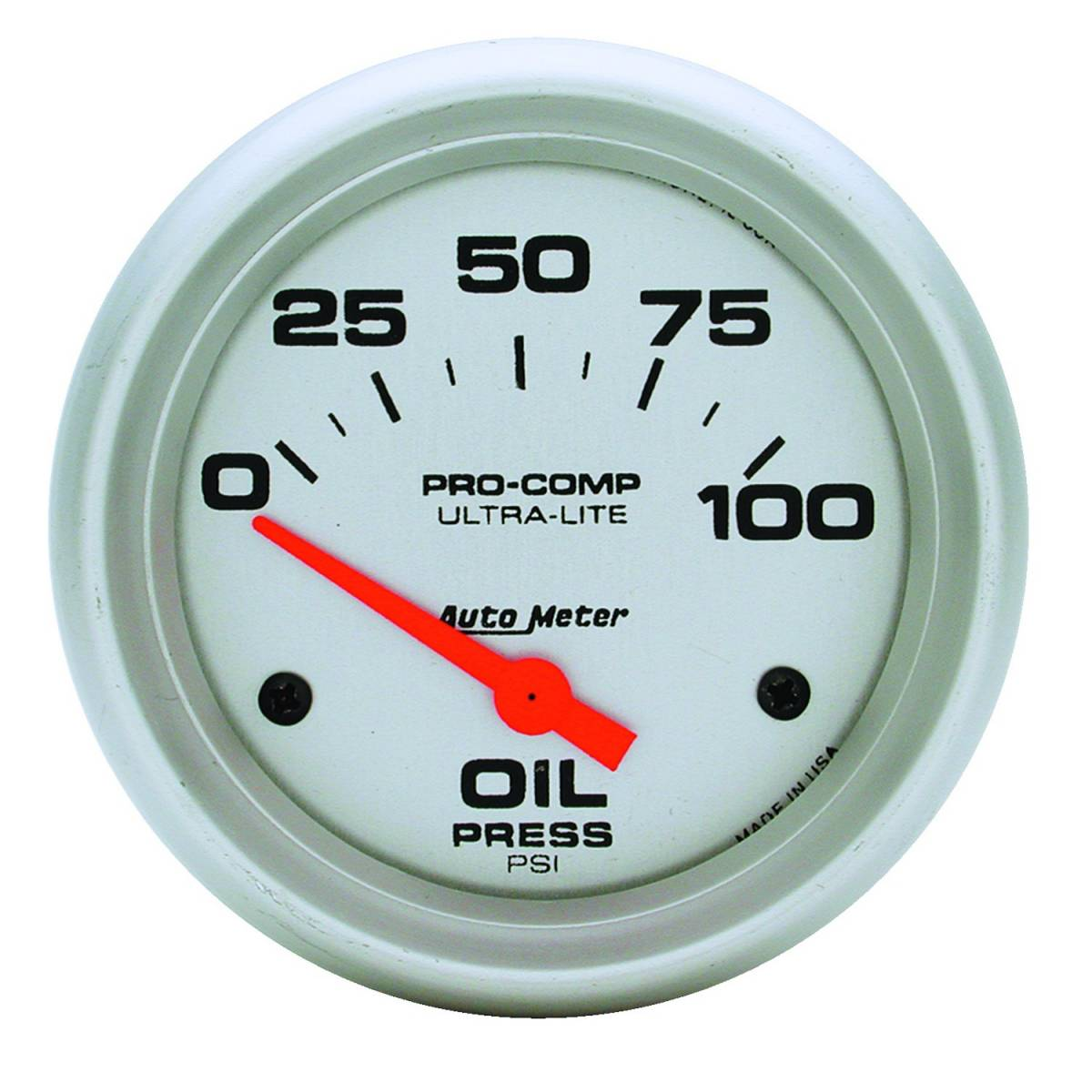 Autometer 4368 Ultra Lite Electric Water Pressure Gauge: AutoMeter #4427 Gauge; Oil Pressure; 2 5/8in.; 100psi
