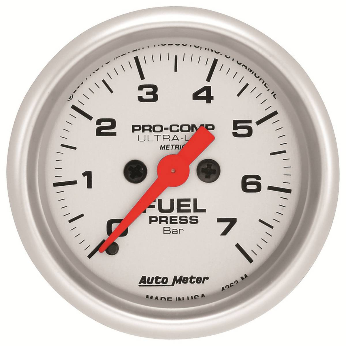 Autometer 4368 Ultra Lite Electric Water Pressure Gauge: AutoMeter #4363-M Gauge; Oil Pressure; 2 1/16in.; 7 BAR