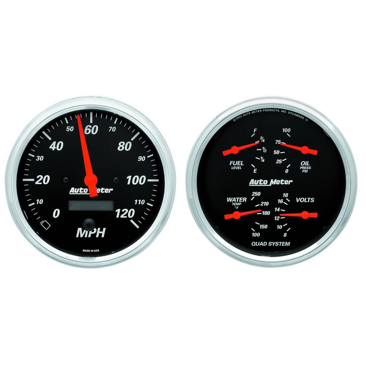 Autometer  1403 Gauge Kit  2 Pc   Quad  Speedometer  5in