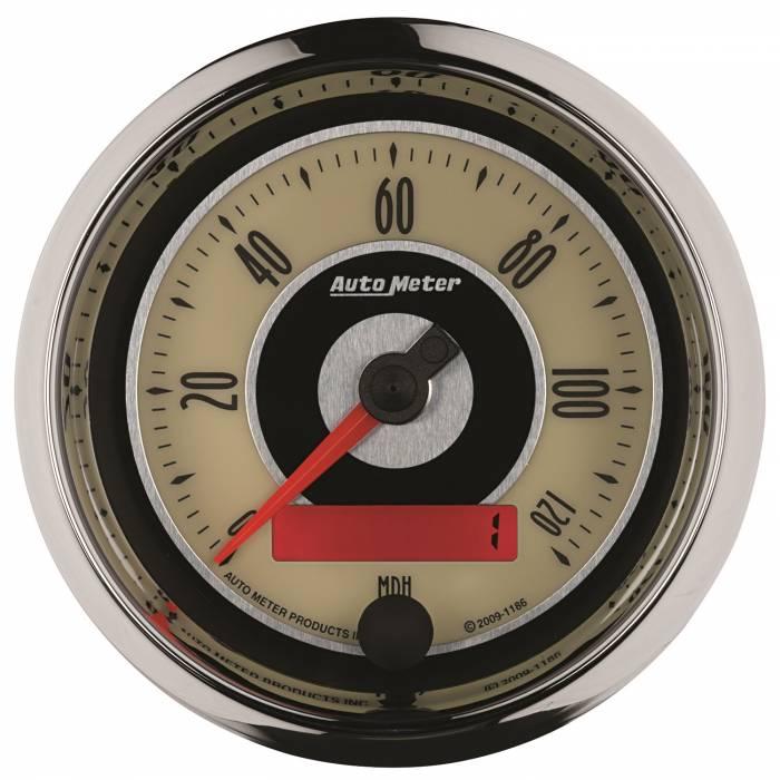 AutoMeter - AutoMeter Gauge; Speedometer; 3 3/8in.; 120mph; Elec. Programmable; Cruiser 1186