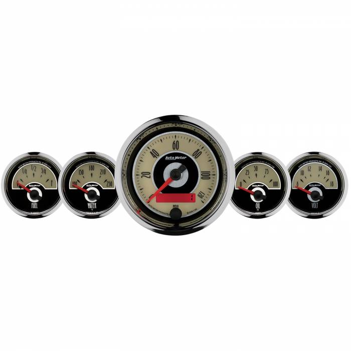 AutoMeter - AutoMeter Gauge Kit; 5 pc.; 3 3/8in./2 1/16in.; Elec. Speedometer; Cruiser 1101