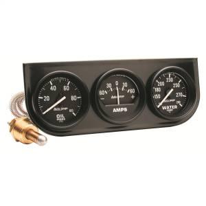 Accessories - Gauges & Pods - AutoMeter - AutoMeter Gauge Console; OILP/WTMP/AMP; 2in.; 100psi/280deg. F/60A; Blk Dial; Blk Bzl; Aut 2393