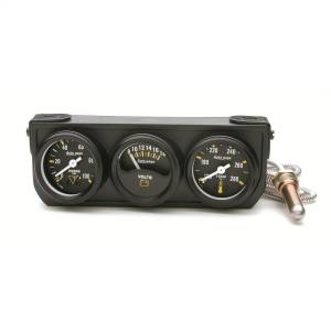 Accessories - Gauges & Pods - AutoMeter - AutoMeter Gauge Console; OILP/WTMP/VOLT; 1.5in.; 100psi/280deg. F/18V; Mech Blk Dial; Blk 2396