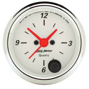 Accessories - AutoMeter - AutoMeter Gauge; Clock; 2 1/16in.; 12Hr; Analog; Arctic White 1385