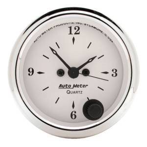 Accessories - AutoMeter - AutoMeter Gauge; Clock; 2 1/16in.; 12Hr; Analog; Old Tyme White 1686
