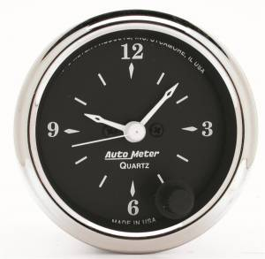 Accessories - AutoMeter - AutoMeter Gauge; Clock; 2 1/16in.; 12Hr; Analog; Old Tyme Black 1785