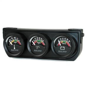 Accessories - Gauges & Pods - AutoMeter - AutoMeter Gauge Console; OILP/WTMP/VOLT; 1.5in.; 100psi/280deg. F/18V; Elec Blk Dial; Blk 2391