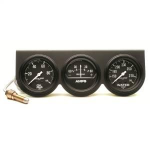 Accessories - Gauges & Pods - AutoMeter - AutoMeter Gauge Console; OILP/WTMP/AMP; 2 5/8in.; 100psi/280deg. F/60A; Blk Dial; Blk Bzl; 2394