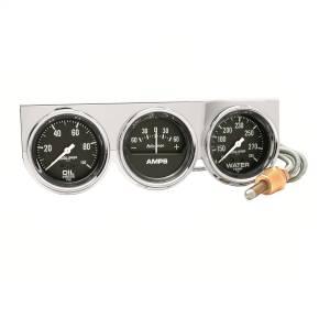 Accessories - Gauges & Pods - AutoMeter - AutoMeter Gauge Console; OILP/WTMP/AMP; 2 5/8in.; 100psi/280deg. F/60A; Blk Dial; Chrome B 2395