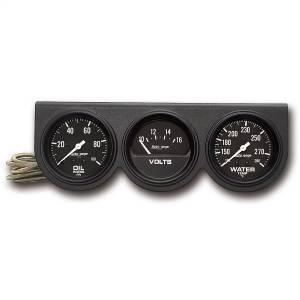 Accessories - Gauges & Pods - AutoMeter - AutoMeter Gauge Console; OILP/WTMP/VOLT; 2 5/8in.; 100psi/280deg. F/16V; Blk Dial; Blk Bzl 2398