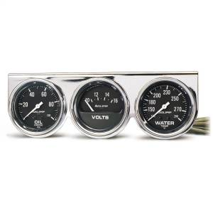 Accessories - Gauges & Pods - AutoMeter - AutoMeter Gauge Console; OILP/WTMP/VOLT; 2 5/8in.; 100psi/280deg. F/16V; Blk Dial; Chrome 2399