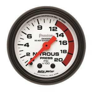 Nitrous Kits & Parts - Nitrous Kit Parts - AutoMeter - AutoMeter Gauge; Nitrous Pressure; 2 1/16in.; 2000psi; Mechanical; Phantom 5728