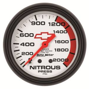 Nitrous Kits & Parts - Nitrous Kit Parts - AutoMeter - AutoMeter Gauge; Nitrous Pressure; 2 5/8in.; 2000psi; Mechanical; GM Bowtie White 5828-00406