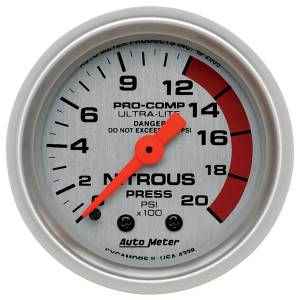 Nitrous Kits & Parts - Nitrous Kit Parts - AutoMeter - AutoMeter Gauge; Nitrous Pressure; 2 1/16in.; 2000psi; Mechanical; Ultra-Lite 4328