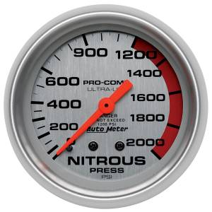 Nitrous Kits & Parts - Nitrous Kit Parts - AutoMeter - AutoMeter Gauge; Nitrous Pressure; 2 5/8in.; 2000psi; Mechanical; Ultra-Lite 4428