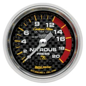 Nitrous Kits & Parts - Nitrous Kit Parts - AutoMeter - AutoMeter Gauge; Nitrous Pressure; 2 1/16in.; 1600psi; Mechanical; Carbon Fiber 4728