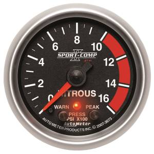 Nitrous Kits & Parts - Nitrous Kit Parts - AutoMeter - AutoMeter Gauge; Nitrous Press; 2 1/16in.; 1600psi; Stepper Motor w/Peak/Warn; Sport-Comp 3673