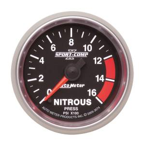 Nitrous Kits & Parts - Nitrous Kit Parts - AutoMeter - AutoMeter Gauge; Nitrous Press; 2 5/8in.; 1600psi; Stepper Motor w/Peak/Warn; Sport-Comp I 7674