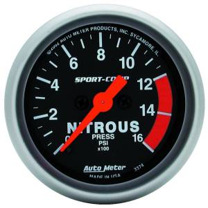 Nitrous Kits & Parts - Nitrous Kit Parts - AutoMeter - AutoMeter Gauge; Nitrous Pressure; 2 1/16in.; 1600psi; Digital Stepper Motor; Sport-Comp 3374