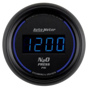 Nitrous Kits & Parts - Nitrous Kit Parts - AutoMeter - AutoMeter Gauge; Nitrous Pressure; 2 1/16in.; 1600psi; Digital; Black Dial w/Blue LED 6974