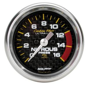 Nitrous Kits & Parts - Nitrous Kit Parts - AutoMeter - AutoMeter Gauge; Nitrous Pressure; 2 1/16in.; 1600psi; Digital Stepper Motor; Carbon Fiber 4774