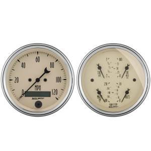 AutoMeter Gauge Kit; 2 pc.; Quad/Speedometer; 3 3/8in.; Antique Beige 1800