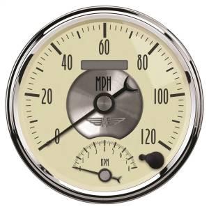 AutoMeter - AutoMeter Gauge; Tach/Speedo; 5in.; 120mph/8k RPM; Elec. Program.; Prestige Antq. Ivory 2090