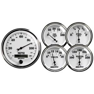 Interior Accessories - Gauges & Pods - AutoMeter - AutoMeter Gauge Kit; 5 pc.; 3 3/8in./2 1/16in.; Elec. Speedometer; Old Tyme White II 1200