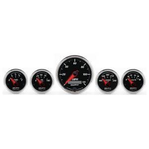 AutoMeter - AutoMeter Gauge Kit; 5 pc.; 3 3/8in./2 1/16in.; Elec. Speedometer; Designer Black II 1201