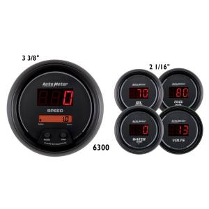 Interior Accessories - Gauges & Pods - AutoMeter - AutoMeter Gauge Kit; 5 pc.; 3 3/8in./2 1/16in.; Elec. Speedo.; Digital; Black Dial w/Red L 6300