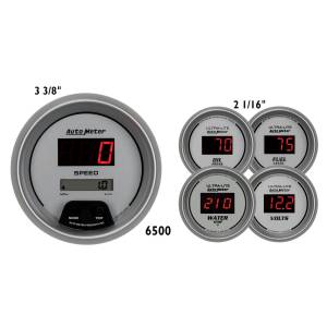 Interior Accessories - Gauges & Pods - AutoMeter - AutoMeter Gauge Kit; 5 pc.; 3 3/8in./2 1/16in.; Elec. Speedo.; Digital; Silver Dial w/Red 6500