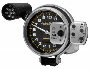 AutoMeter - AutoMeter Gauge; Tach; 5in.; 11k RPM; Pro-Stock Pedestal w/Super Lite/Peak Mem; Carbon Fib 6836