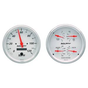 AutoMeter - AutoMeter Gauge Kit; 2 pc.; Quad/Speedometer; 5in.; Arctic White 1303