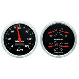 AutoMeter - AutoMeter Gauge Kit; 2 pc.; Quad/Speedometer; 5in.; Designer Black 1403