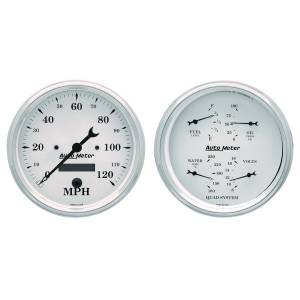 Interior Accessories - Gauges & Pods - AutoMeter - AutoMeter Gauge Kit; 2 pc.; Quad/Speedometer; 5in.; Old Tyme White 1603