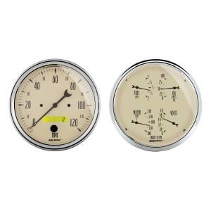 Interior Accessories - Gauges & Pods - AutoMeter - AutoMeter Gauge Kit; 2 pc.; Quad/Speedometer; 5in.; Antique Beige 1803