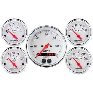 Interior Accessories - Gauges & Pods - AutoMeter - AutoMeter Gauge Kit; 5 pc.; 3 3/8in./2 1/16in.; GPS Speedometer; Arctic White 1350