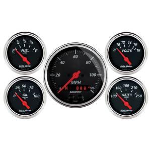 AutoMeter - AutoMeter Gauge Kit; 5 pc.; 3 3/8in./2 1/16in.; GPS Speedometer; Designer Black 1450