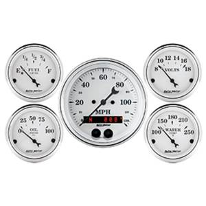 Interior Accessories - Gauges & Pods - AutoMeter - AutoMeter Gauge Kit; 5 pc.; 3 3/8in./2 1/16in.; GPS Speedometer; Old Tyme White 1650