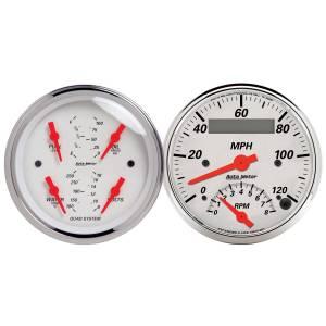 Interior Accessories - Gauges & Pods - AutoMeter - AutoMeter Gauge Kit; 2 pc.; Quad/Tach/Speedo; 3 3/8in.; Arctic White 1309