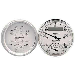 Interior Accessories - Gauges & Pods - AutoMeter - AutoMeter Gauge Kit; 2 pc.; Quad/Tach/Speedo; 3 3/8in.; Old Tyme White 1620