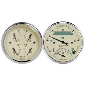 AutoMeter - AutoMeter Gauge Kit; 2 pc.; Quad/Tach/Speedo; 3 3/8in.; Antique Beige 1820