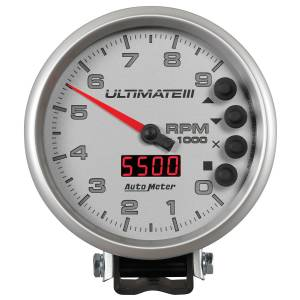 Interior Accessories - Gauges & Pods - AutoMeter - AutoMeter Gauge; Tach; 5in.; 9k RPM; Pedestal; Datalogging; Ultimate III Playback; Silver 6882