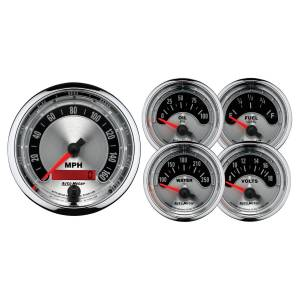 Interior Accessories - Gauges & Pods - AutoMeter - AutoMeter Gauge Kit; 5 pc.; 3 3/8in./2 1/16in.; Elec. Speedometer; American Muscle 1202