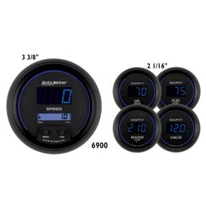 Interior Accessories - Gauges & Pods - AutoMeter - AutoMeter Gauge Kit; 5 pc.; 3 3/8in./2 1/16in.; Elec. Speedometer; Digital; Black Dial w/B 6900