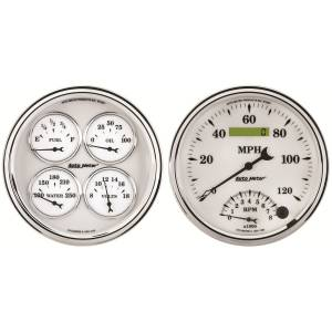 Interior Accessories - Gauges & Pods - AutoMeter - AutoMeter Gauge Kit; 2 pc.; Quad/Tach/Speedo; 5in.; Old Tyme White II 1203