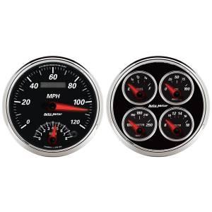 AutoMeter - AutoMeter Gauge Kit; 2 pc.; Quad/Tach/Speedo; 5in.; Designer Black II 1204